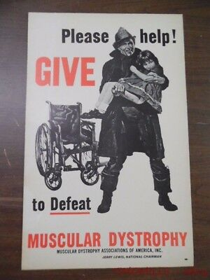 c.1960s Jerry Lewis Muscular Dystrophy Campaign Window Card Poster Sign Vintage