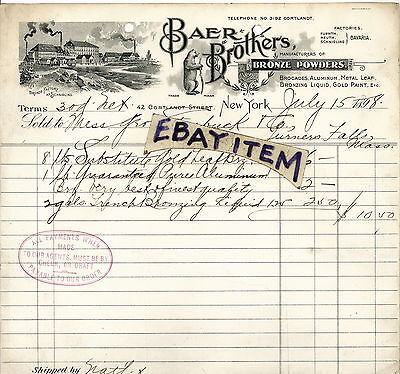 1898 billhead BAER BROTHERS New York GOLD LEAF manufacturers SCHNIGLING BAVARIA