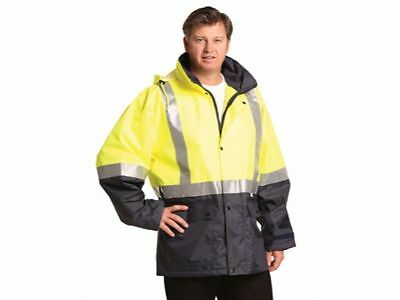Mens Hi-Vis Rain Proof Coat Hooded Jacket Cover 1XL 2XL 3XL 5XL 7XL L M S XS 2XS