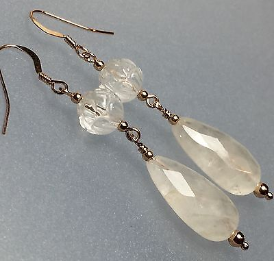 Teardrop Cloudy Clear & Carved Lotus Quartz 14ct Rose Gold Earrings #466
