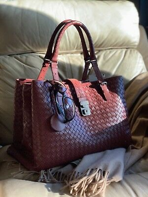 8a257180f4 AUTH NWT Bottega Veneta Medium Roma Bag In Russet Intrecciato Calf Leather   3750