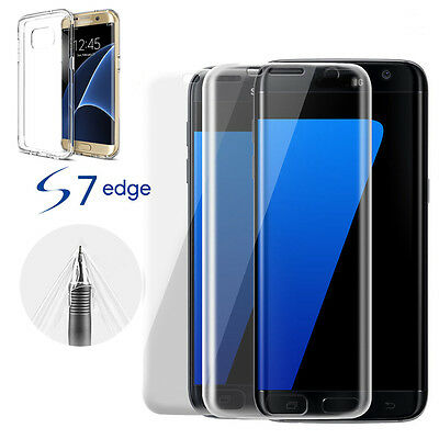 Clear Gel Case TPU Silicone Cover+Screen Protector For Samsung Galaxy S6 S7 Edge