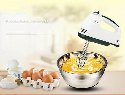 Small Handheld Kitchen Electric Mixer Chrome Beaters Blender 7 Speed Stirrer