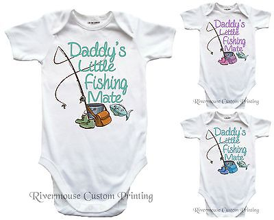 DADDYS LITTLE FISHING MATE Baby Romper One-piece Infant Bodysuit Toddler T-Shirt