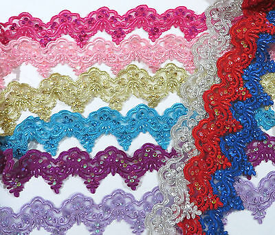 Sequin Beaded High Quality Lace Trim Dance Tutu Stage 8 cm Wide 1 metre
