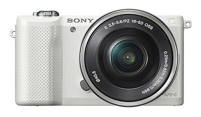 Sony Alpha A5000 White Mirrorless Digital Camera with 16-50mm Lens Kit New other