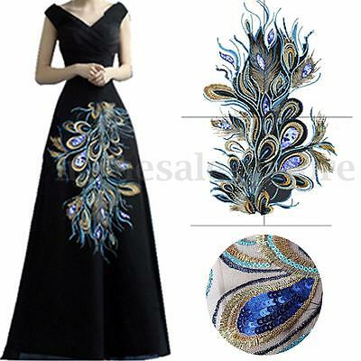 DIY Craft Embroidered Sequins Peacock Cloth Feather Applique Sew Trim 60X32cm