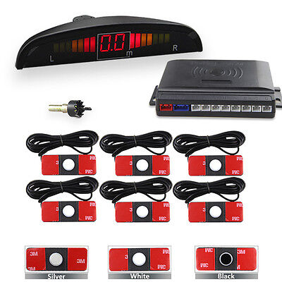 LED Display Reverse Car Parking System Kit With 6 Flat Front Rear Sensors 13mm