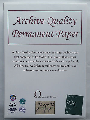 A4 90gsm Acid Free Archival White Paper - 200 year guarantee