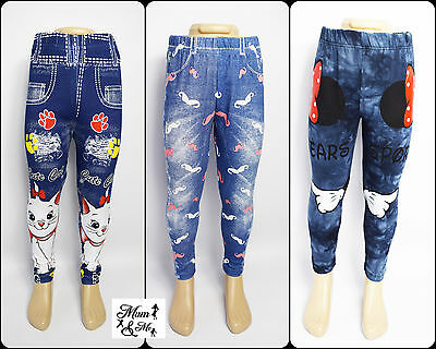 Toddler Baby Girls Denim Leggings Cartoon Print Trousers Cotton