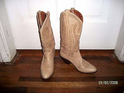 Women's Dan Post Beige Tan With Stitching Cowboy Boots Usa 7.5 M