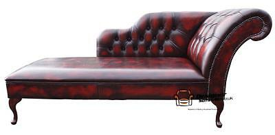 Chesterfield Leather Chaise Lounge Loungue Day Bed Antique Oxblood Left Or Right