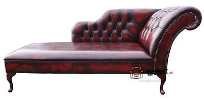 Chesterfield New Real Leather Chaise Lounge Day Bed Antique Oxblood Left/Right