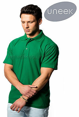 Uneek UC101 Mens Classic Polo Shirt Plain Short Sleeve Collared Tee Casual Top