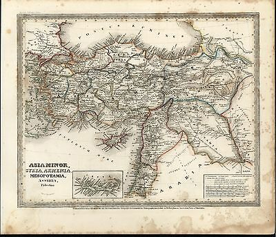 Asia Minor Turkey Mesopotamia Syria Armenia c.1850 Meyer detailed antique map