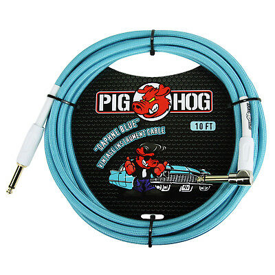 """Pig Hog PCH10DBR 1/4"""" Straight to 1/4"""" Right-Angle Daphne Blue Inst Cable - 10ft"""