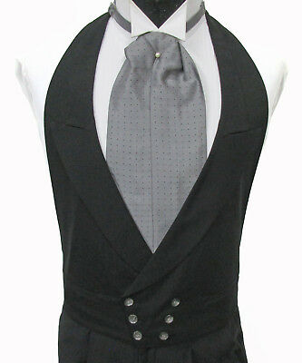 Black Double Breasted Open Back Tuxedo Vest & Ascot Wedding Morning Dress
