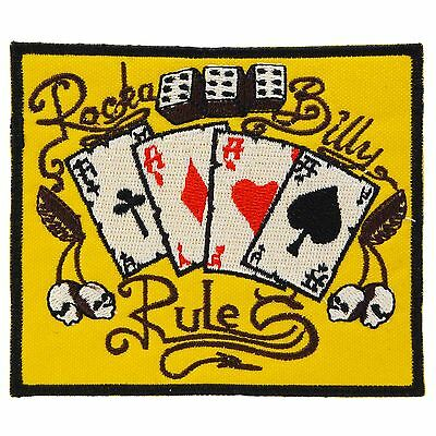 Rockabilly Rules Iron On Patch Sew Punk Retro Kustom Tattoo Embroidered Ace