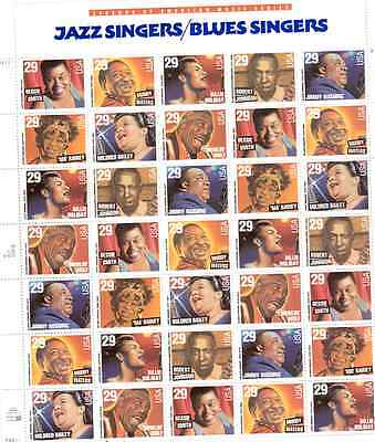 Scott #2854/61...29 Cent...Jazz/Blues Singers..Sheet of 35 Stamps