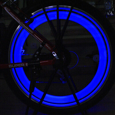 6PCS  Bike Light Bicycle Cycling Spoke Wire Tire Tyre Silicone LED Wheel Blue