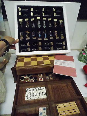 History Channel Civil War Game Chest Chess Checkers Cribbage Dominoes Backgammon