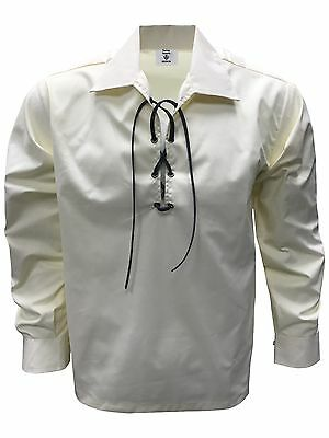 Gents Scottish  Cream Jacobite Ghillie Shirt
