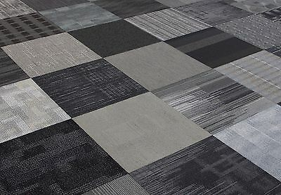 "SHADES OF GRAY AND BLACK COLOR FAMILY 24"" x 24"" CARPET TILES"