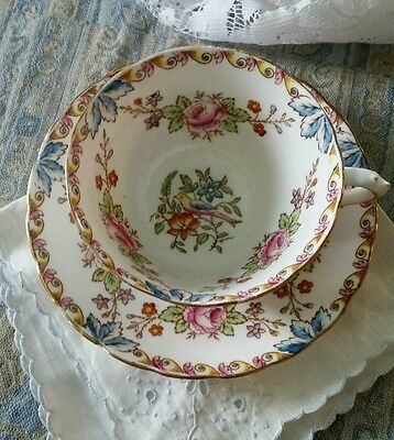 Tuscan Made in England flower bird tea cup saucer set