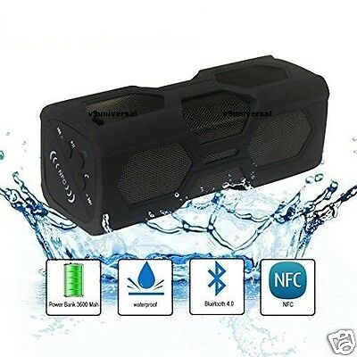 Outdoor Waterproof Shockproof Portable NFC Bluetooth 4.0 Mini Speaker Power Bank