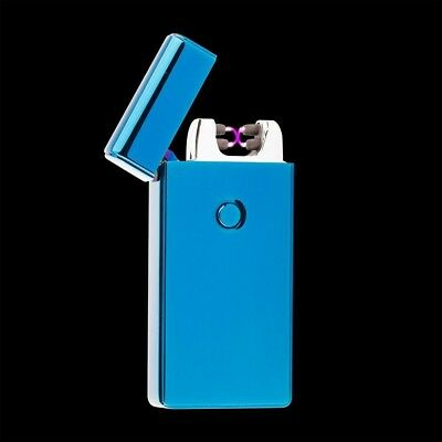 Blue Electric Dual Arc Metal Flameless Torch USB Rechargeable Windproof Lighter