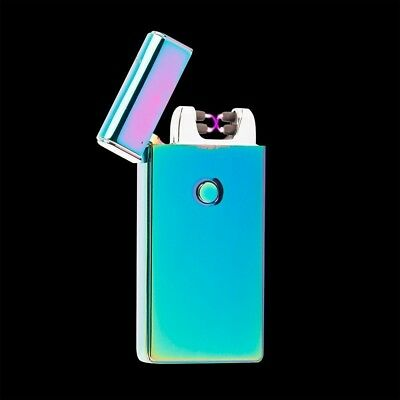 Iridesecent Electric Dual Arc Metal Flameless USB Rechargeable Windproof Lighter