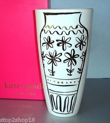 """Kate Spade Lenox DAISY PLACE Chinoiserie Doodle Vase 9""""H New In Box"""