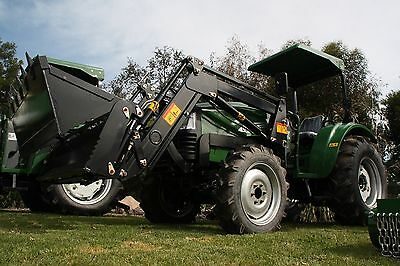 New 55hp Tractor 4 in 1 Front End Loader Plus Bonus 5ft Slasher and Bale Spears!