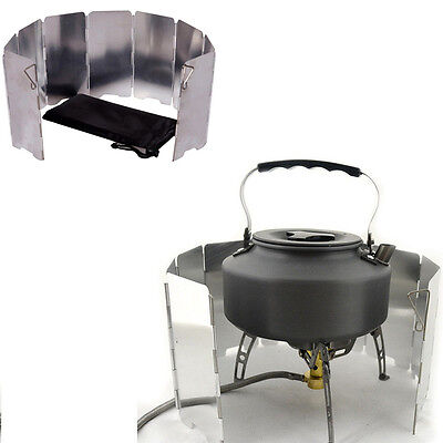 Outdoor Camping Cooking Picnic 9 Plates Foldable Stove Gas BBQ Burner Windshield
