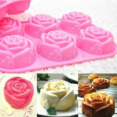 Rose Muffin Sweet Candy Jelly Silicone Cake Mold Baking Pan Tray