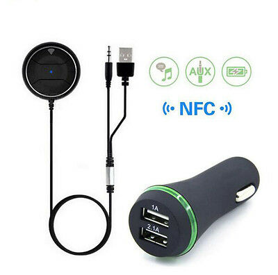 NFC Blutooth Hands-free Car Kit Dual USB Charger Audio Receiver Stereo Music Aux