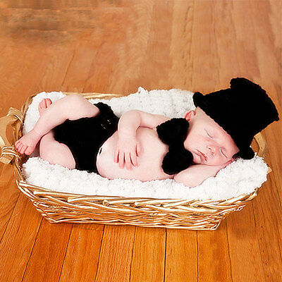 Cute Newborn Gentleman Baby Clothing Boy Hat Costume Crochet Outfits Photo Props
