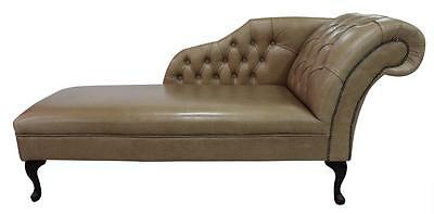 Chesterfield Leather Chaise Lounge Loungue Day Bed Old English Parchment