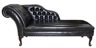 Chesterfield Leather Chaise Lounge Loungue Day Bed Old English Black