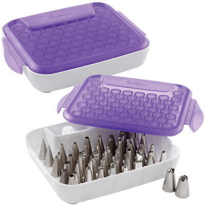 Wilton Cake Decorating Tips Couplers Flower Nails Rings Organizer Storage Case