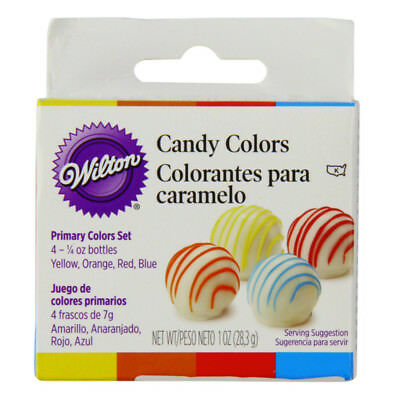 Wilton Food Color Icing Frosting Fondant Decorating Red Blue Yellow Orange Set 4