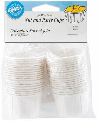 Wilton 36 Pk White MINI NUTS Snacks Sweets Cases Condiment Party Cup Decorating