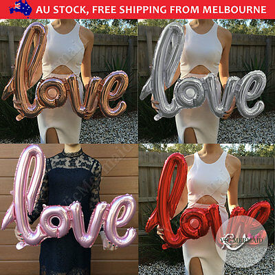 "40"" Large Love Foil Balloons Handwriting Wedding Birthday Party Decorations 102c"