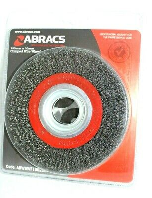 ABRACS Crimped Wire Wheel 150mm X 20mm Bench Brush Polishing ABWBWF15020C