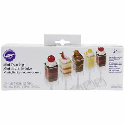 Wilton 24 Count Square Mini Pop Treats Clear Containers Holders Party Decorating
