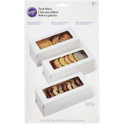 Wilton 3 Pk WHITE RECTANGLE Cake Cupcakes Muffin Cookies Candies Decorating Box