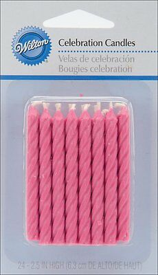Wilton 24 Pk PINK Birthday Candles Celebration Occasion Party Cake Decorations