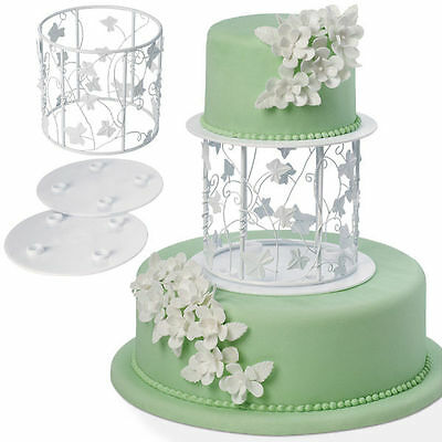 Wilton Vine Leafs Wire Cakes Display Stands Coated Metal Separator Ring Set of 3