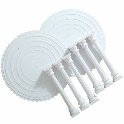 Wilton 8 Pcs Roman Column Tiers Plate Set Cake Wedding Birthday Party Decoration