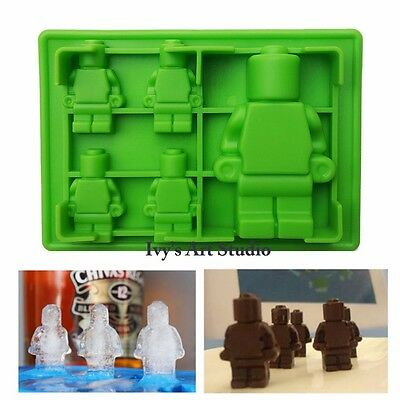 Lego Type Minifigure Man Ice Cube Tray Silicone Molds Chocolate Cake Mould